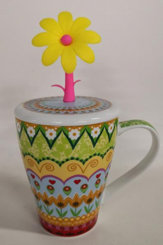 13oz new bone china mug with lid and silisone flower, bulk packing