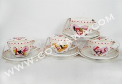 300cc new bone china cup and saucer with color sleeve